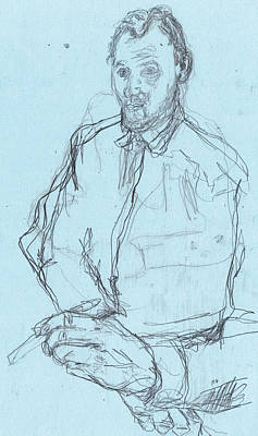 Drawing - Self-portrait Pencil Blue 1 by Artist Dot