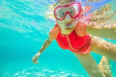 Photograph - Selfie Portrait Snorkeling by Benny Marty