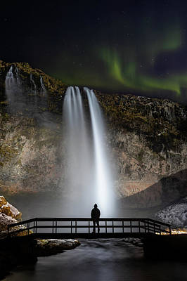Photograph - Seljalandsfoss Northern Lights Silhouette by Nathan Bush