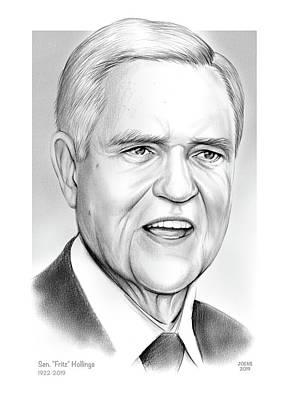 Drawings Rights Managed Images - Sen. Fritz Hollings Royalty-Free Image by Greg Joens