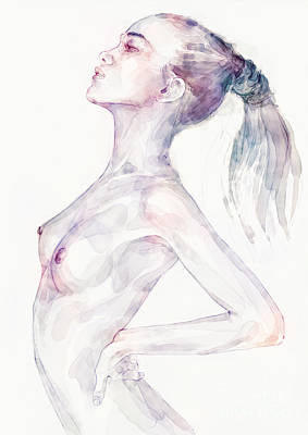 Painting - Sensual Pose Aquarelle Portrait Of A Girl by Dimitar Hristov