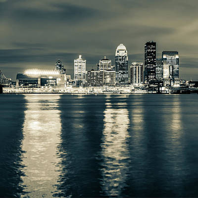 Photograph - Sepia Louisville Skyline Over The Ohio River - Square Format by Gregory Ballos