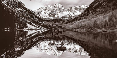 Photograph - Sepia Mountain Landscape - Aspen Colorado Maroon Bells by Gregory Ballos