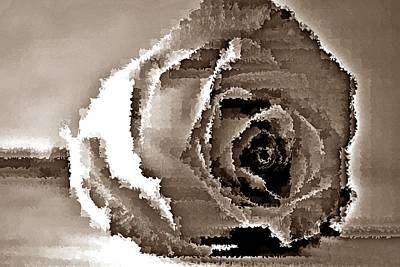 Abstract Shapes Janice Austin - Sepia rose - Flower Digital Art #08 by Noranne AG