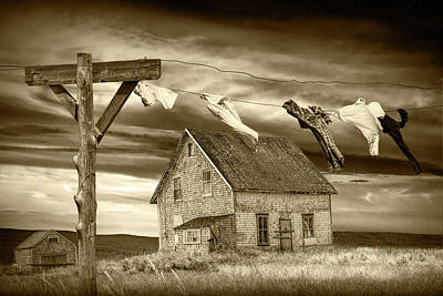 Photograph - Sepia Tone Of Laundry On The Line By Boarded Up House by Randall Nyhof