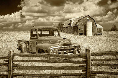 Photograph - Sepia Tone Of Rusted International Harvester Pickup Truck In A Rural Landscape by Randall Nyhof