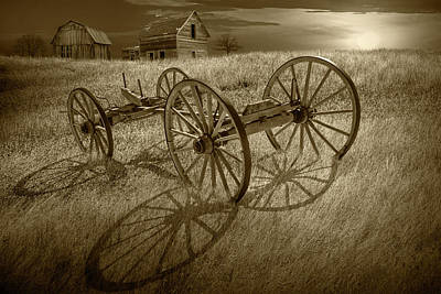 Photograph - Sepia Tone Photograph Of A Farm Wagon Chassis In A Grassy Field  by Randall Nyhof