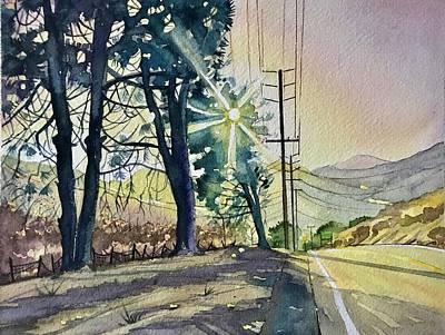City Scenes - Three Pines on Mulholland by Luisa Millicent