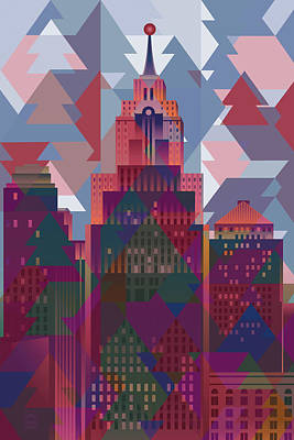 Abstract Skyline Digital Art Rights Managed Images - September Sunset Over Detroit Royalty-Free Image by Garth Glazier