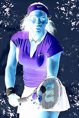 Athletes Digital Art - Serena - Ready to Go - Negative by Marlene Watson