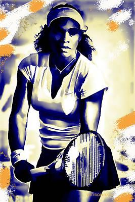 Athletes Digital Art - Serena Williams - Ready by Marlene Watson