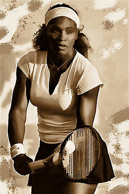 Athletes Royalty-Free and Rights-Managed Images - Serena Williams - Ready to Go 1 by Marlene Watson