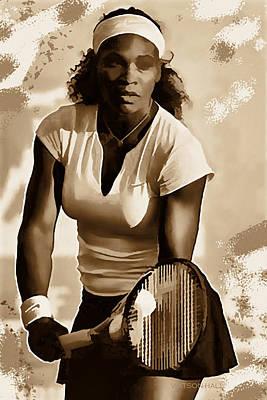 Athletes Digital Art - Serena Williams - Ready to Go 1 by Marlene Watson
