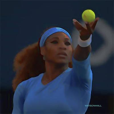 Athletes Digital Art - Serena Williams - Service - Watercolor by Marlene Watson