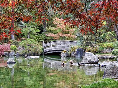 Photograph - Serene Autumn Japanese Garden Pond by Carol Groenen