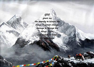 Wall Art - Painting - Serenity Prayer With Panoramic View Of Everest Mountain by Jesus Savior