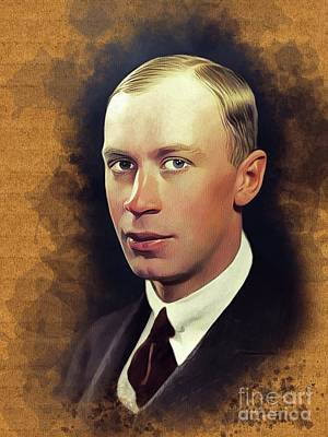 Music Repro on Canvas or Paper Portrait of Russian composer Sergei Prokofiev