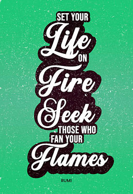 Royalty-Free and Rights-Managed Images - Set your life on fire 02 - Rumi Quotes - Typography - Retro - Green, Black by Studio Grafiikka