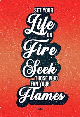 Royalty-Free and Rights-Managed Images - Set your life on fire - Rumi Quotes - Typography - Retro - Red, Black - Rumi Poster by Studio Grafiikka