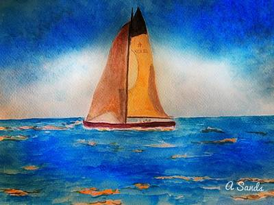 Painting - Setting Sail At Sea by Anne Sands