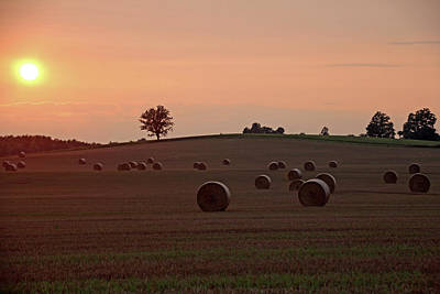 Photograph - Setting Sun And Hay Bales by Debbie Oppermann