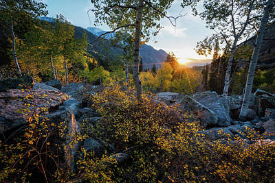 Photograph - Setting Sun Over The Wasatch In The Fall by James Udall