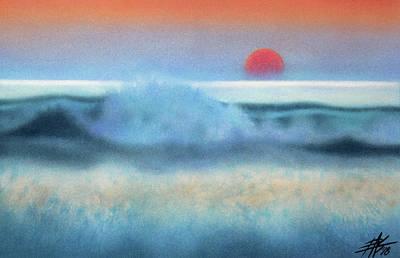 Setting Sun, Waves Of Glass Art Print by Robin Street-Morris
