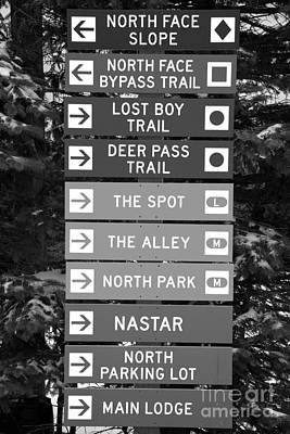 Photograph - Seven Springs Ski Resort Directions Black And White by Adam Jewell