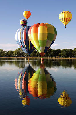 Photograph - Several Reflected Balloons by Bwbimages