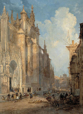 Painting - Seville Catedral On The Side Of The Steps by Jenaro Perez Villaamil