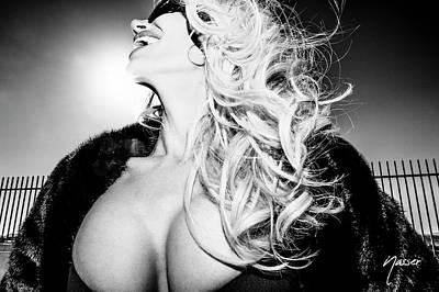 0558 Sexy Fashionista Blonde - Model Selenaphillips Black And White Las Vegas Fashion Editorial Art Original