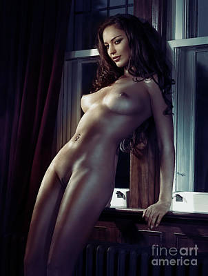 Photograph - Sexy Woman Standing Naked At A Window Erotic Print by Oleksiy Maksymenko