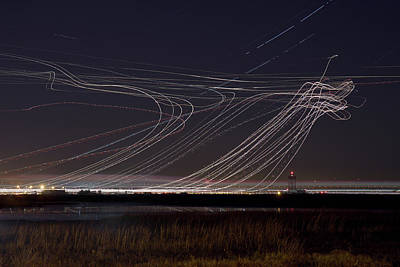 Photograph - Sfo Airplane Light Trails by Terence Chang
