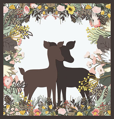 Shadowbox Deer Art Print