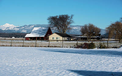 Photograph - Shadows On Snowy Barn Roof by Tom Cochran