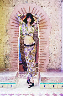 High Fashion Photograph - Shalom Harlow Wearing A Patchwork Outfit by Arthur Elgort