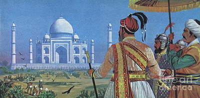 Painting - Shan Jahan Watching The Taj Mahal Being Built  by Angus McBride