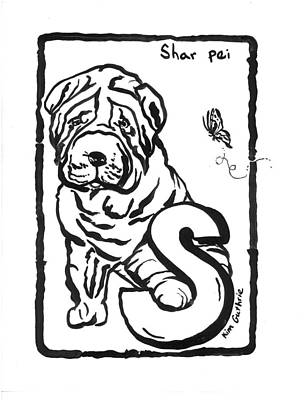 Wall Art - Painting - Shar Pei Black And White Painting by Kim Guthrie