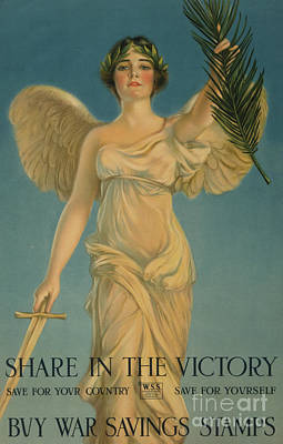 Painting - Share In The Victory, Buy War Savings Stamps, 1st World War Poster, 1918 by William Haskell Coffin