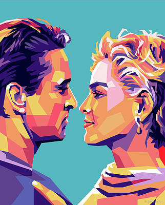 Classic Cocktails - Sharon Stone and Michael Douglas by Stars on Art