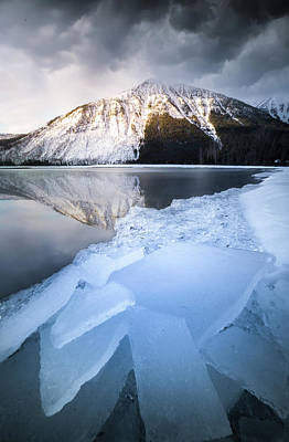 Photograph - Shattered Ice / Lake Mcdonald, Glacier National Park  by Nicholas Parker