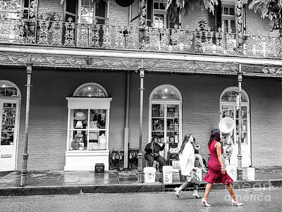 Photograph - She Wore Red In The French Quarter New Orleans by John Rizzuto
