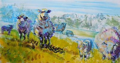 Drawing - Sheep And Lambs Impressionism Flock With Landscape by Mike Jory