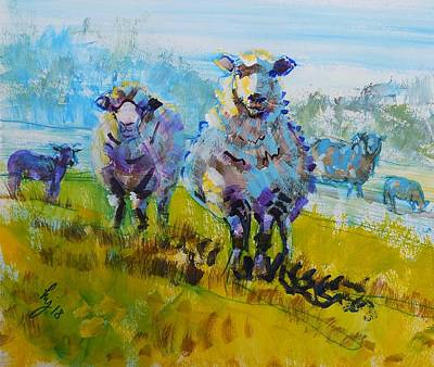 Drawing - Sheep And Lambs In Bright Sunshine by Mike Jory