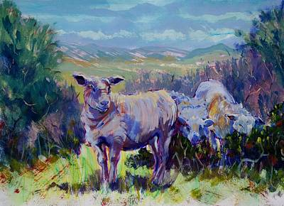 Painting - Sheep And Landscape Painting by Mike Jory
