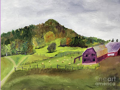Painting - Sheep Farm In Vermont by Donna Walsh