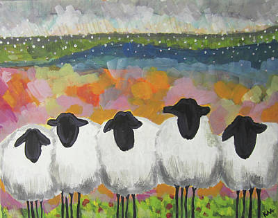Wall Art - Painting - Sheep Huddle  by Kaley Alie