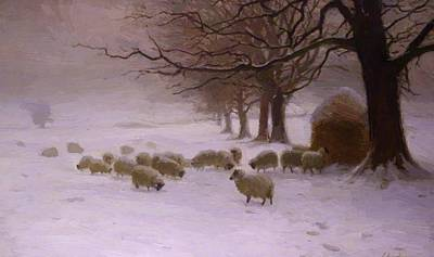 Joseph Farquharson Wall Art - Painting - Sheep In A Snowstorm 1893 by Farquharson Joseph