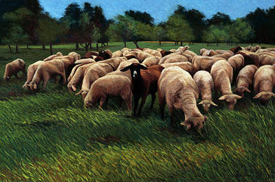 Painting - Sheep In Germany By Helen J. Vaughn by Helen Vaughn