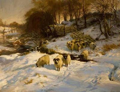 Joseph Farquharson Wall Art - Painting - Sheep In The Snow by Farquharson Joseph